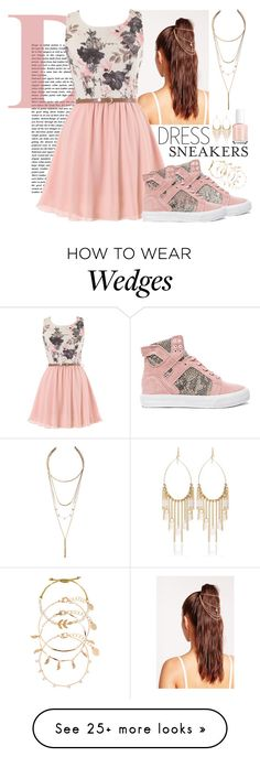 """""""#142 Dress   Sneakers"""" by charlotte-sk on Polyvore featuring Missguided, Supra, LULUS, White House Black Market, Essie and Accessorize"""