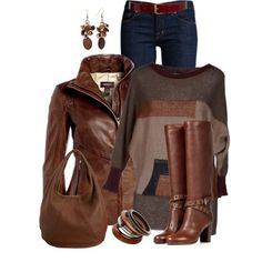 """""""Dark Brown Leather Jacket"""" by daiscat on Polyvore"""