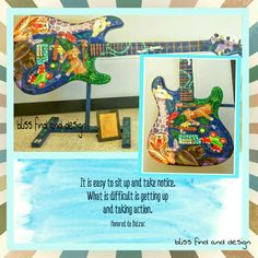 One of the 300+ Cleveland Guitarmania artist and celebrities painted Fender Stratocaster Guitar titled Jungle Jam by Artist A. R. Caso. Motivational quotes, take action.