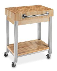 I love the Boos End-Grain Butcher Block Classic Kitchen Cart on Williams-Sonoma.com