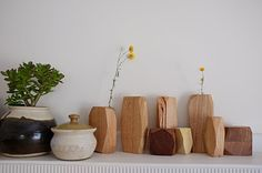 wooden vase. use a glass test tube for the inside.