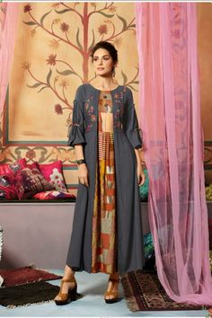 Pack Of 6 Embroidered Party Ethnic Wear Designer Rayon Slub Long Kurti. LKFABKART is a wholesale party wear kurtis dealer and supplier with quality products. Green Tops, Blue Tops, Party Wear Kurtis, Ethnic Wear Designer, Designer Kurtis, Anarkali, Alibaba Group, Kids Wear, Dress Patterns