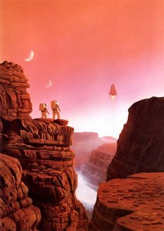"""Picture of the Day - astronauts watching a spaceship landing near a canyon on Mars - a cover image by Stephen Youll for Gregory Benford's book """"The Martian Race"""" Arte Sci Fi, Science Fiction Kunst, Sci Fi Kunst, Les Reptiles, 70s Sci Fi Art, Cosmos, Retro Art, The Martian, Sci Fi Fantasy"""