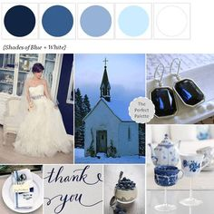 {Sweet Snowy Chapel}: A Winter wedding palette featuring Shades of Blue + White! I'm imagining a sweet little chapel blanketed by snow... http://www.theperfectpalette.com/2012/12/sweet-snowy-chapel.html