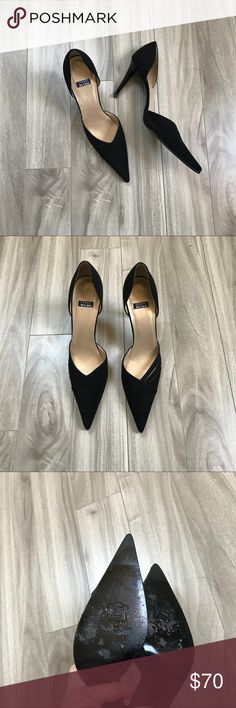 Stuart Weitzman Pointy Black Pumps Beautiful black pumps in fabric and leather soles. Pointy with side details, size 7 1/2 AA  Made in Spain Stuart Weitzman Shoes Heels