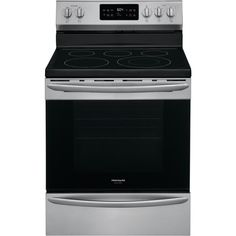Frigidaire Gallery 30 in. Single Oven Electric Range with Steam Clean Quick Bake Convection Smudge-Proof Stainless Steel Oven Cleaning Oven Racks, Self Cleaning Ovens, Steam Cleaning, Electric Cooktop, Electric Oven, Kitchen Express, Frigidaire, Kitchen Appliance Packages, 5 Elements