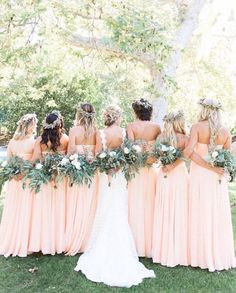 I love the bridesmaids dresses, style and color. However, I also love the photo and garland/wreath of flowers. Boho/Earthy. Shields Wedding 2017.