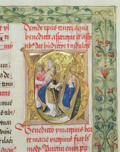 Blessing of the Virgin Mary and Child from the Pontifical of Bishop Erasmus Ciolek,dc.1510 (tempera & gold on parchment) by Polish School Illuminated Letters, Illuminated Manuscript, History Images, Art History, Monuments, Initial Capital, Tempera, Virgin Mary, Sell Your Art
