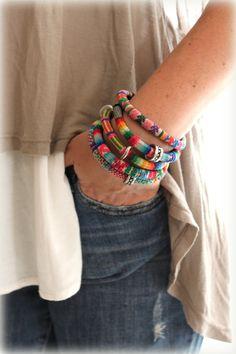 Peruanische Reisedecke set 5 Armreif Armband Tribal Sommer Accessoire böhmischen ethnische Pastell Farben Schmuck Design von Inali Inka Stoff Textil