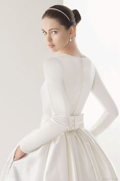 rosa clara 2014 corcega tulle silk organza ball gown wedding dress long sleeve top buttons