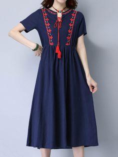 Folk Broderie Short Sleeve Loose Hem Women Dresses