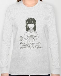 Knitting Girl Mug, society6, coffee, knit, yarn, hipster, girl, black, white, tea, craft, diy, doodle, art, artist, illustration, drawing, knitting lady, old lady, quote, cat lady, inspiration, drawing, scarf, hat, beanie, sweater, cozy, winter, book case, wood, yarn ball, tote bag, handbag, bag, mouse, glasses, hipster, shirt, t-shirt, v-neck, heather, long sleeve, gray