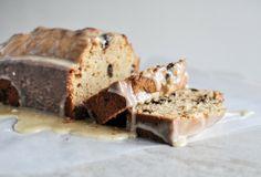 Eggnog Chocolate Chip Bread with Brown Butter Eggnog Glaze