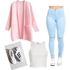 A fashion look from May 2016 featuring WithChic cardigans, River Island tops and adidas sneakers. Browse and shop related looks.