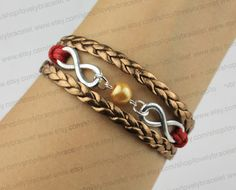 The ancient golden pearl silver infinity by lovelybracelet on Etsy, $3.99