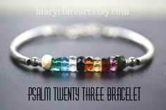 Psalm 23 Faceted Rondelle Bead Bracelet, The Lord Is My Shepherd Bracelet, Psalm 23 Bracelet, Women's Bracelet Christian Bracelets, Christian Jewelry, Psalm 23, Beaded Jewelry Designs, Handmade Jewelry, Salvation Bracelet, The Lord, Religion, Bracelet Patterns