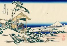 Tea house at Koishikawa. The morning after a snowfall by Katsushika Hokusai. Ukiyo-e. landscape