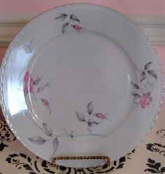 Vintage Royal Bohemian Dish, Pink Rose Dinner Plate, Shabby Chic Dinnerware,Cottage Chic Dinnerware,