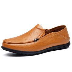 2bd785112c0a8 Big Size Leather Comfortable Driving Loafers Flats Men Shoes With Jeans