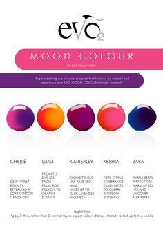 EVO_BY_BIO_SCULPTURE_GEL_MOOD_COLOURS Gel Nail Colors, Gel Color, Mood Colors, Colours, Bio Sculpture Gel Nails, Nail Arts, Nail Tech, Beauty Nails, Salons