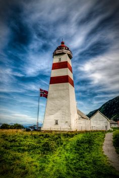 Alnes Lighthouse by Lars Harald Sørebø (via 500 px) Solar Lighthouse, Beacon Of Light, Light Of The World, Water Tower, Cool Landscapes, Covered Bridges, Strand, Places To See, Norway