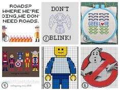 1. Back to the Future, Halloween Costumes.com 2. Weeping Angel, Crafty Companion 3. Geek Love, Fave Crafts 4. Avengers Assemble!, Wee little Stitches via Kitschy Digitals 5. Lego Man,Tunderzug.bl…