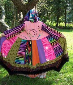 ImAgiNaRy ClOtHinG Technicolor Dream Coat Rainbow Starburst Eco Funky Gypsy Sweater Crazy Quilt Boho. $149.00, via Etsy.