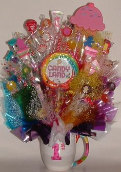 1st Birthday CANDY LAND Edible Centerpiece This by CandyFlorist, $39.95