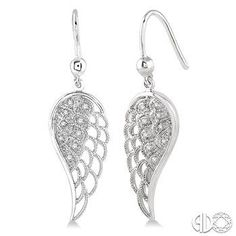 Angel Wing dangle earrings holding .07ct. t.w. round diamonds in sterling silver. Price: $149