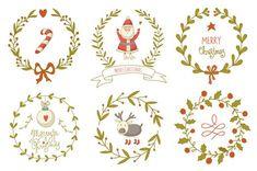 Hand drawn Christmas wreaths set by Blue Ink Studio on Creative Market