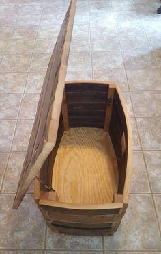 Wine Barrel Storage Chest hope chest | Etsy Wine Barrel Chairs, Wine Barrel Bar, Wine Barrels, Oak Wine Rack, Wood Wine Racks, Bourbon Barrel Furniture, Barrel Projects, Hope Chest, Storage Chest