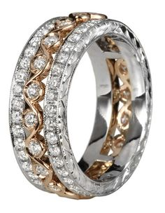 Beautiful band with a stacked look.    Jack Kelege Rose gold diamond band. Idea for wedding band????