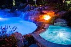 Color LED Swimming Pool Lights Mahwah, Bergen County NJ - Tropical - Pool - New York - by Cipriano Landscape Design & Custom Swimming Pools Swimming Pool Quotes, Swimming Pool Lights, Swimming Pools, Natural Swimming Ponds, Natural Pond, Tropical Pool, Tropical Design, Led Boat Lights, Water Curtain