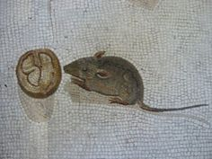 Mouse and half a walnut from the mosaic of Vigna Lupi 2nd cent. AD Heraclitus, Unswept Room, detail, Gregoriano Profano Museum, Vatican Museums)