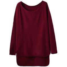 Womens Loose High Low Long Sleeve Pullover Sweater Ruby (€28) ❤ liked on Polyvore featuring tops, sweaters, ruby, loose fitting tops, purple pullover sweater, long sleeve pullover sweater, purple long sleeve top and pullover sweaters