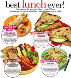 healthy lunches :) - love the sandwich with raisin bread, peanut butter and apples