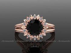 Sun Flower Black Diamond Engagement Ring, In Rose Gold