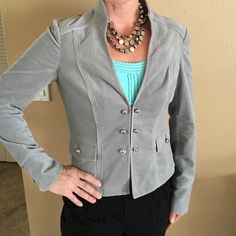 NWOT White House Black Market gray velvet blazer This NWOT gray WHBM jacket is magnificent! Not too heavy; perfect for any season. Tags have been removed, but I am a 4 or Small and this fits perfectly. Versatile, stylish, and timeless. I would love to keep this for myself, but I already have 3 gray blazers so.... White House Black Market Tops