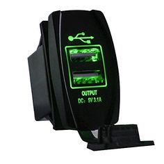Mictuning Universal Rocker Style Car USB Charger - with Green LED Light Dual USB Power Socket for Rocker Switch Panel with fast, FREE Shipping    #carscampus #sale #shop #cars #car #campus