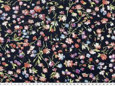 Viscose fabric, flowers, navy, 150cm SOPO-2436 - Fabric and sewing materials at fabric-dreams.co.uk