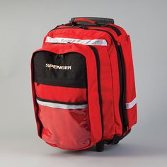 R-Aid Rolling Backpack, Red Item #(19233) •Versatile backpacks are uniquely manufactured for medical professionals and are structured to suit a variety of conditions. Allows ample use of inside and outside space; rigid PVC structure adds strength and durability. •Features high visibility reflective bands and a reinforced protective PVC bottom with protective rubber padding. •Can be used as a backpack or a bag.