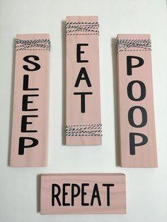 Set Of 4 Pink Nursery Signs Sleep Eat Repeat Rustic