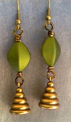 Brass Weights Dangle Earrings by marokel on Etsy, $16.00