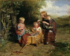 """""""Spring Flowers"""" by George Smith (1851) at the Victoria and Albert Museum, London - From the curators' comments: """"The Art Journal in its review, admired the subject of `Children decking with flowers their little sister, whom they have drawn forth in her little cart; the picture has much truthful excellence.' Most early Victorian artists, with the notable exception of William Mulready, avoided the darker aspects of childhood in response to the taste of their patrons."""""""