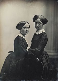 Two women posed with a chair, by Albert Sands Southworth & Josiah Hawes, Daguerreotype ca. 1850.