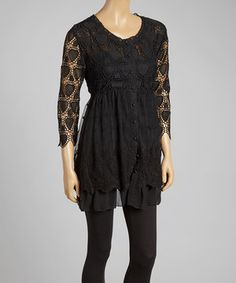 Love this Black Heart Crochet Button-Up Tunic by Pretty Angel on #zulily! #zulilyfinds
