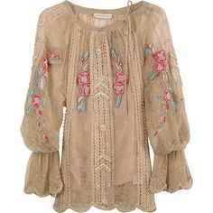 Lace Peasant Blouse by Matthew Williamson is reminiscent of the poet shirt that was popular in the This blouse has many frilly elements including lacey fabric, scalloped edges, floral embroidery and pearl beading. Boho Fashion, Fashion Looks, Womens Fashion, Style Fashion, Fashion Ideas, Ethno Style, Casual Outfits, Cute Outfits, Bohemian Mode