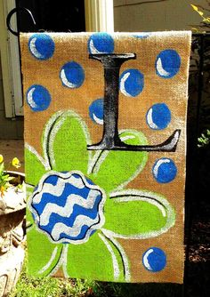 Burlap Garden Flag Lime Green with Bright Blue Dots and Monogram by ModernRusticGirl on Etsy https://www.etsy.com/listing/188318078/burlap-garden-flag-lime-green-with