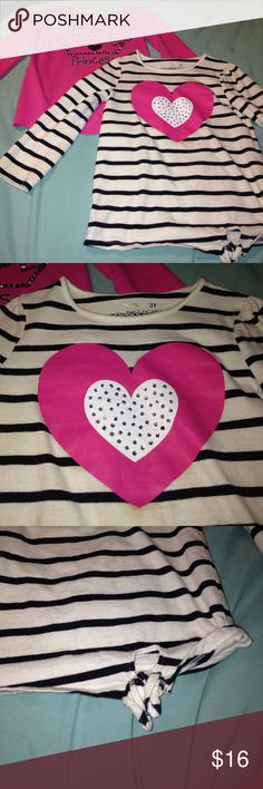 "2 toddlers long sleeves Pink shirt says ""daddy's princess"" and the striped one has a big heart in the middle. Both have the knot on the hem. Super cute during fall and winter! Let me know if you have any questions. bundle KIDS clothes for a discount! jumping bean Shirts & Tops Tees - Long Sleeve"