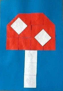 * Paddenstoel! Vouw een vouwblaadje van het formaat 16 x 16 in 16 vierkantjes. Knip de vierkantjes uit en leg een voorbeeld na.